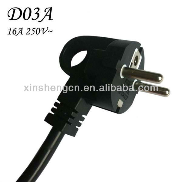 VDE approval power cable french 2 pin right angle ac power plug