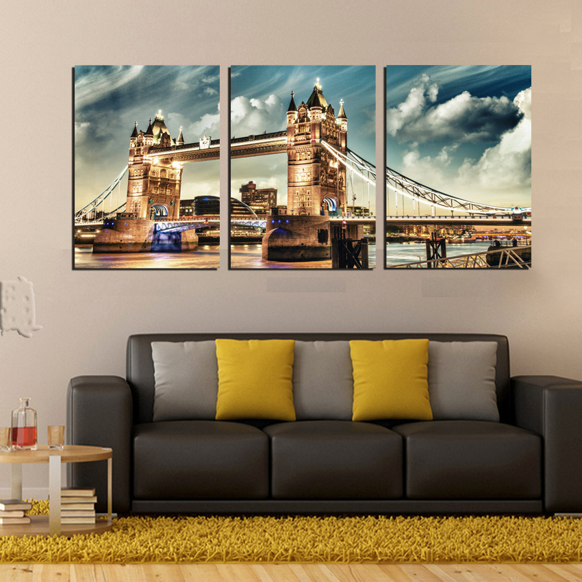 London Bridge Landscape Wall Poster Pictures and Printings Modern office home decor City in Night