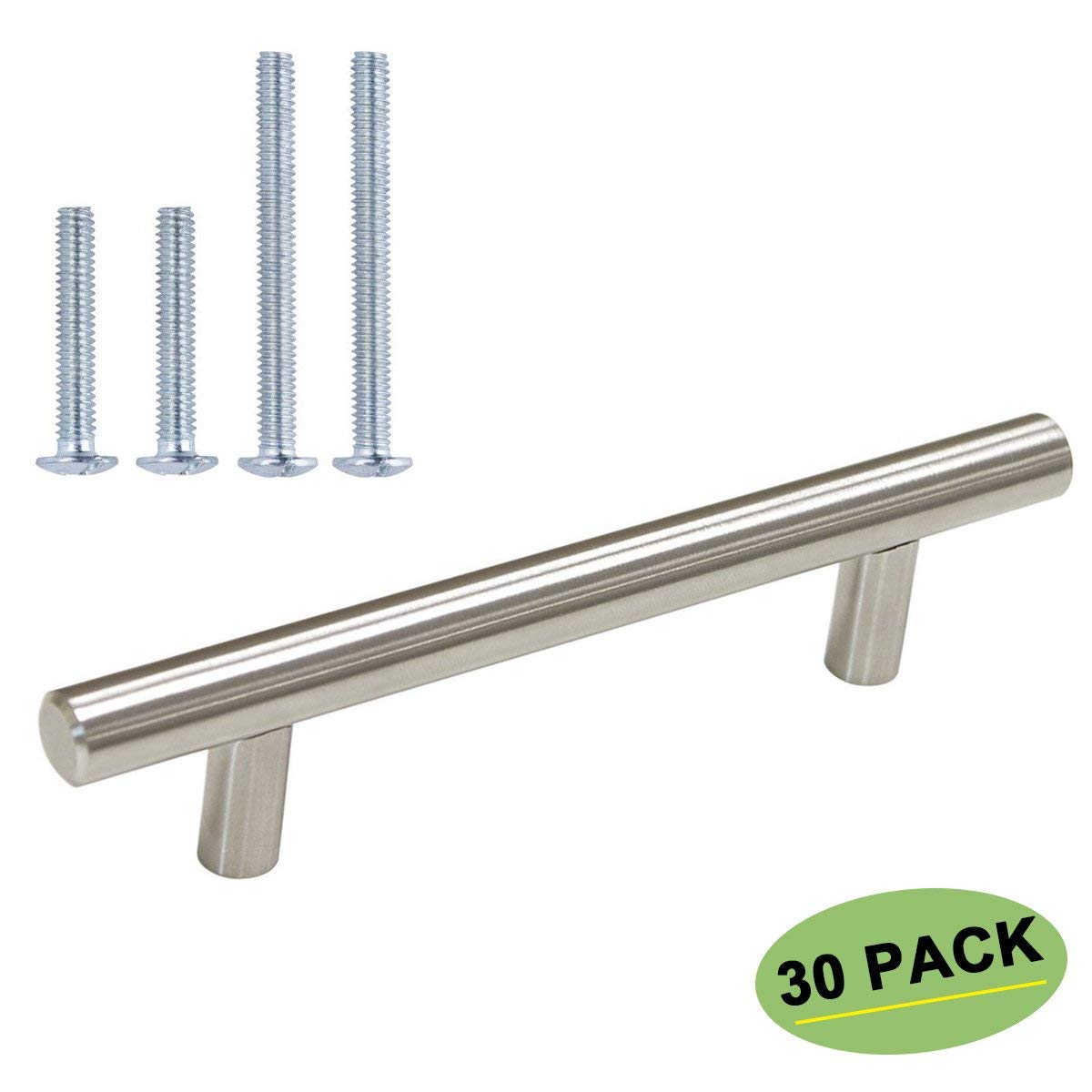 96mm Cabinet Pulls Brushed Nickel 30 Pack - homdiy HD201BSS 3.75 inch Drawer Pulls Dresser Drawer Handles Kitchen Cabinet Hardware Bathroom Cabinet Handles Stainless Steel Cabinet Drawer Pulls