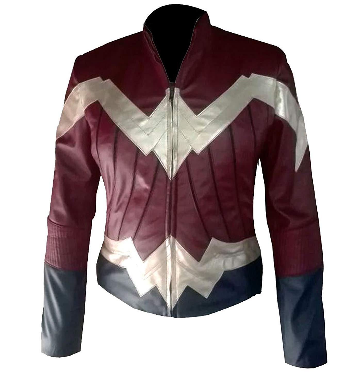 Wonder Woman Gal Gadot Diana Prince Maroon Waxed Faux Leather Jacket