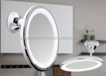 5x LED Light Bathroom Suction Cup Makeup Mirror With Touch Switch 8 Inch