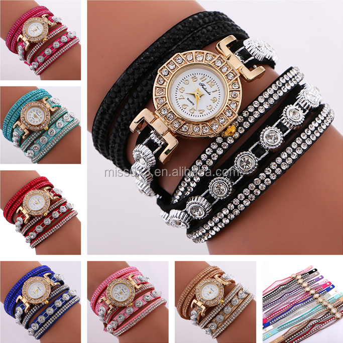 2017 new style wholesale Acrylic lady rhinestone leather strap fashion women cheap bracelet quartz wrist watch