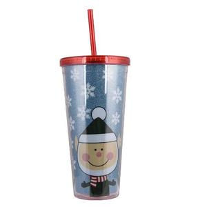 New design Christmas Cup Logo Double Wall 600ml Plastic Cup with Straw Lid BPA Free Wholesales