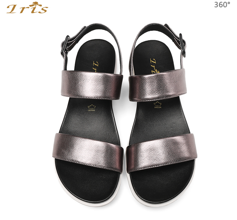 e78f566408e3 IRIS Flat Sandals Silver Women Casual Comfortable Soft Leather ...