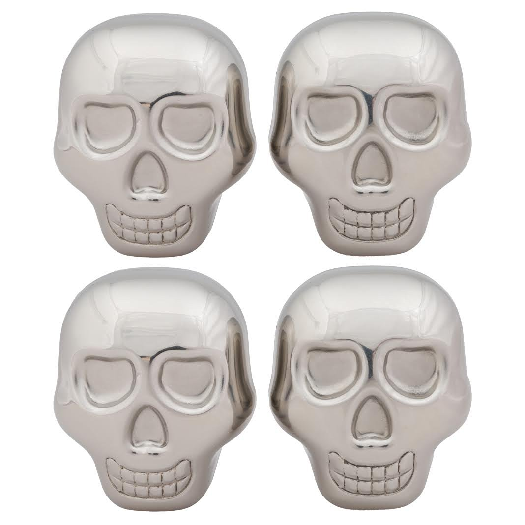 Chill-O Stainless Steel Skull Head Ice Cubes Set of 4 - Whiskey Chillers - Wine Chillers -Beer Chillers