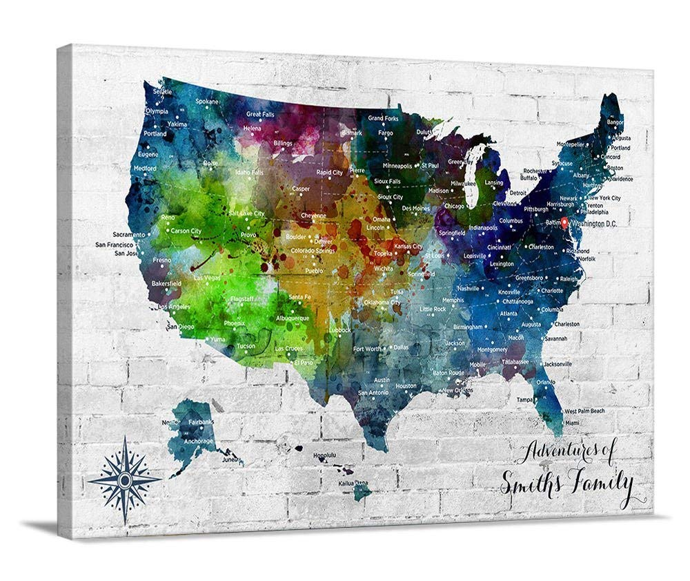 Watercolor US Map Push Pin Wall Art Canvas Print, Personalized USA Map Adventures Wall Art Canvas Print - Custom America Map Flag Travel Map Canvas Print