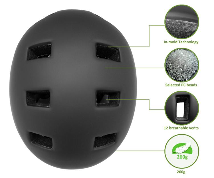 Factory price in-mold custom skateboard helmet 9