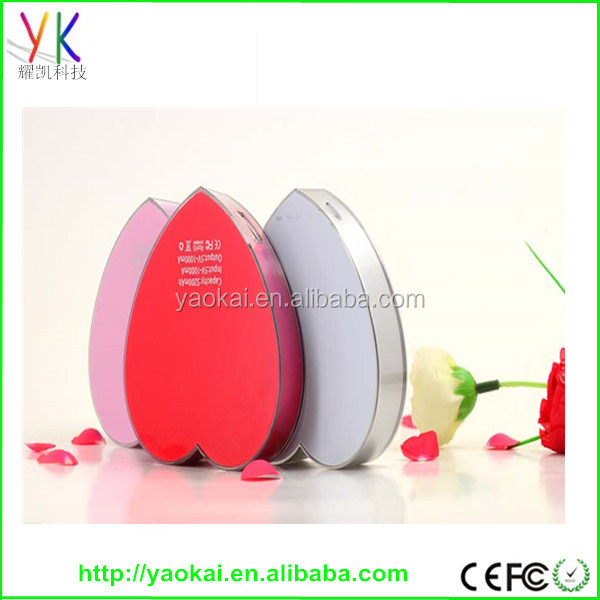 2015 HOT!!!fashion high quality promotional gift shenzhen factory 5000mah heart powe rbank