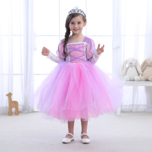 Girls Rapunzel Dress Long Puff Sleeve Sofia Ball Gown Children Kids Birthday Carnival Party Princess Cosplay Costume