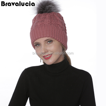 39c9f18652e51 Factory price charming silver fox ball knitted beanie for fur ball knitting  hats