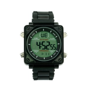 Diver Style Silicon Strap LCD Watch EL Multi Functional Digital Watches for Gents