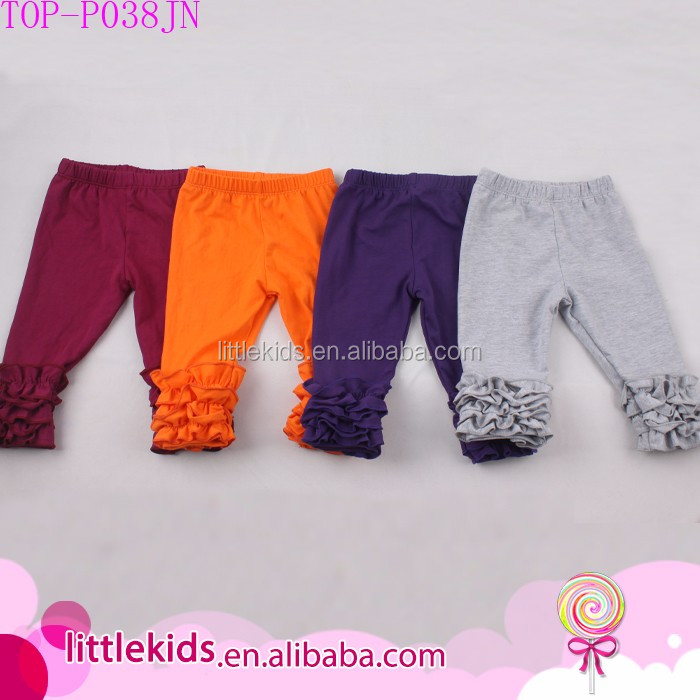 Sew sassy ruffle capris wholesale icing leggings baby girl icing ruffle pants