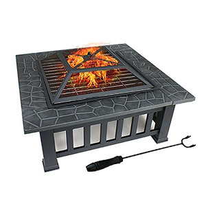 Square shape decoration patio fire pit with burner kit