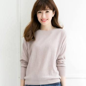 2019 factory custom plain knitted wool sweater for  women