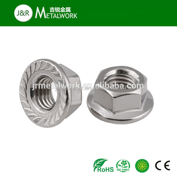 Low Price M10 M12 M20 sus 304/316 stainless steel hex flange nut din6923