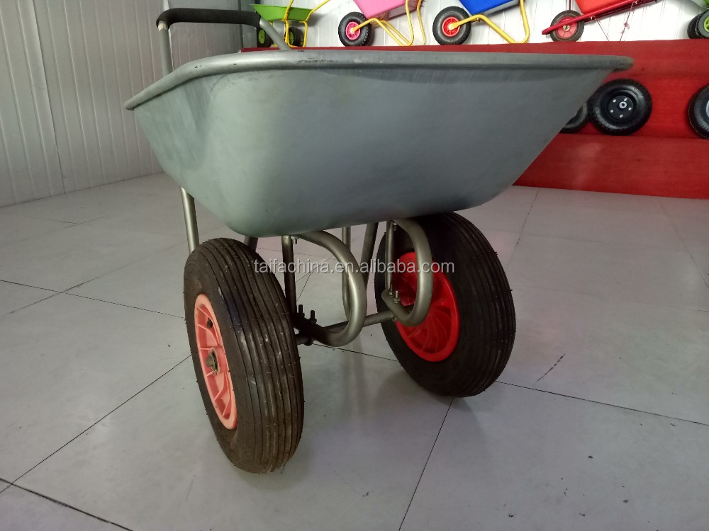hot sale cheap double wheel Galvanized wheelbarrow