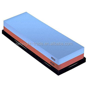 Two sided Knife Sharpening Stone with Bamboo Base
