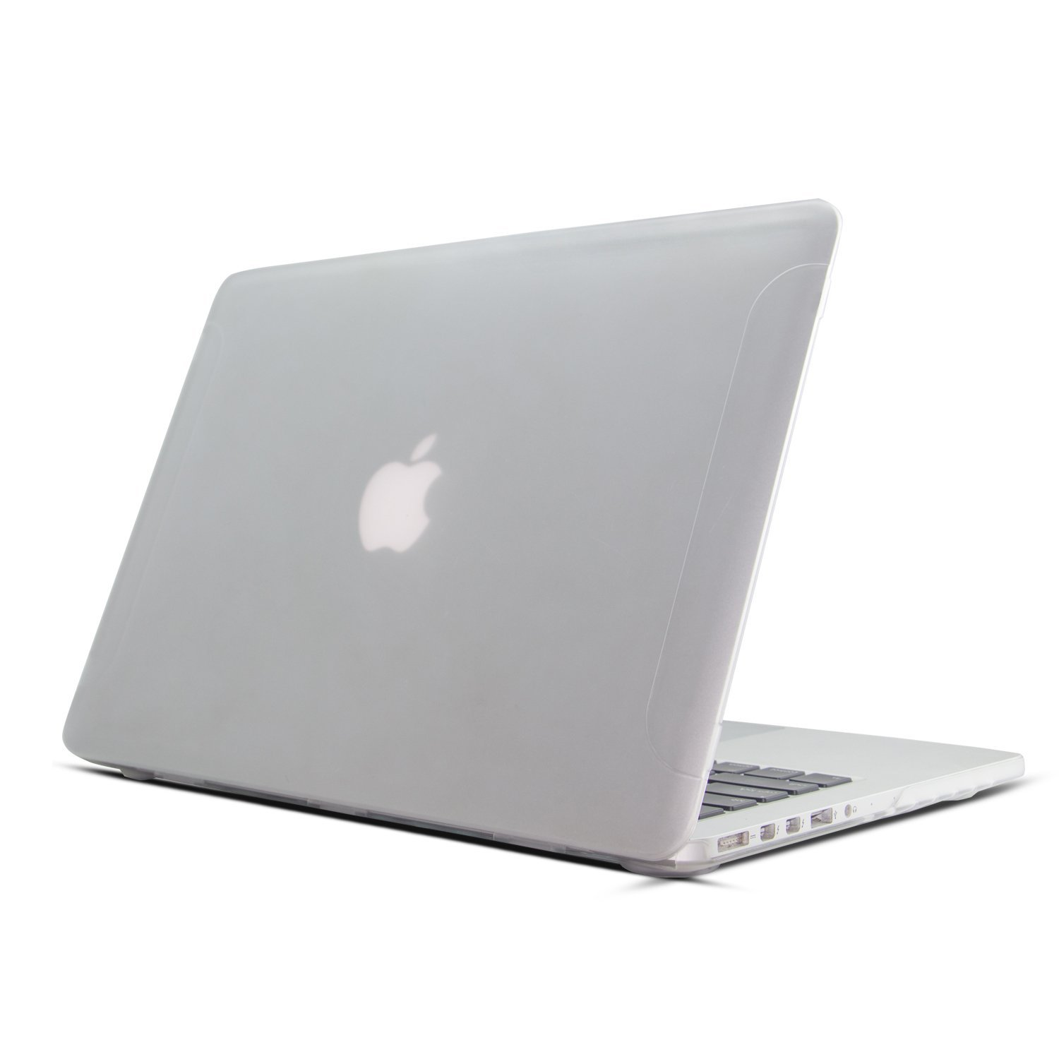 """Case for MacBook 13 Retina Display, LynneTech Matte Rubberized Plastic Apple Logo See Through Cover for Mac Pro 13.3""""(No CD-ROM) A1502 A1425, White"""