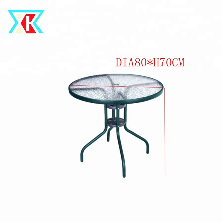Dia80cm Leisure Outdoor Coffee Patio Bistro Round Gl Table With Umbrella Hole
