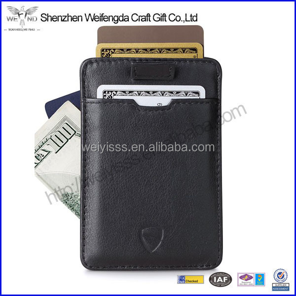 Top Quality Ultra Thin Italian Leather Slim Card Sleeve Wallet with RFID Protection