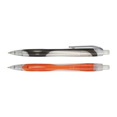 Plastic retractable translucent barrel ball pen new model ball pen