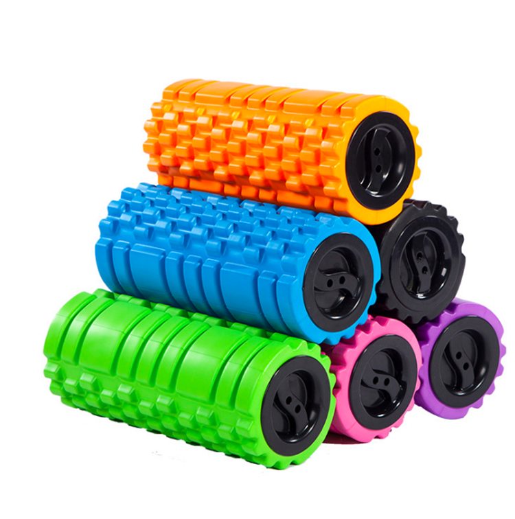 Foam Roller for Muscle Massage with End Caps - Black, Red, Blue, Pink