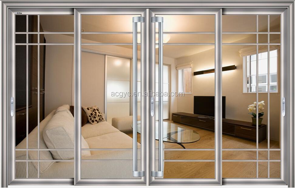 chorro de arena de cristal para la cocina aislado puerta interior interior de aluminio
