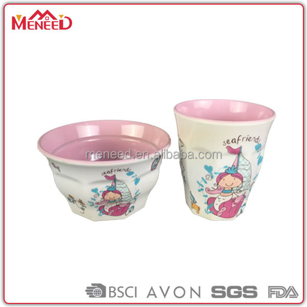Personalized plastic bowl & cup, baby elegant houseware in melamine