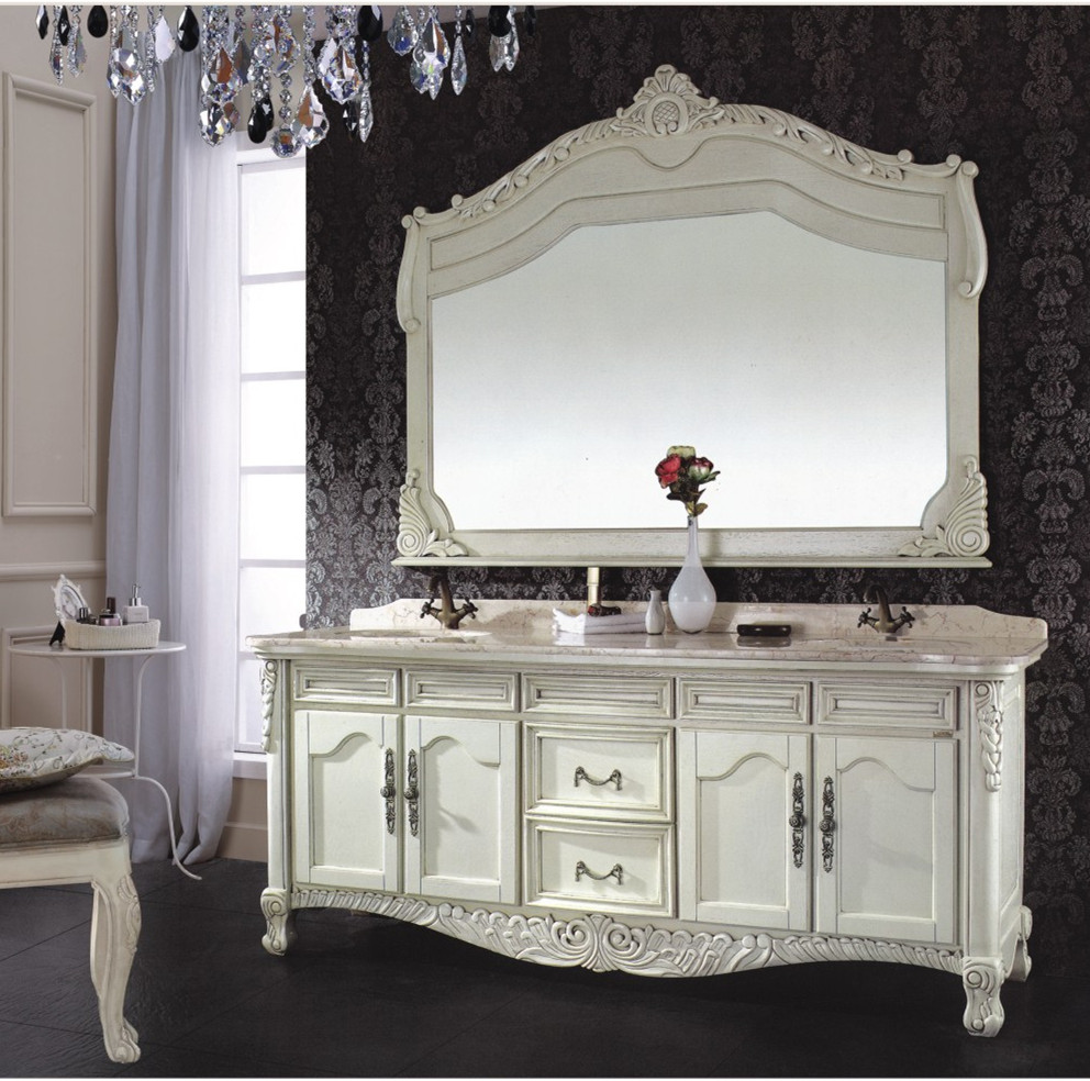 Home Furniture Classic Style Solid Wood Bathroom Vanity ...