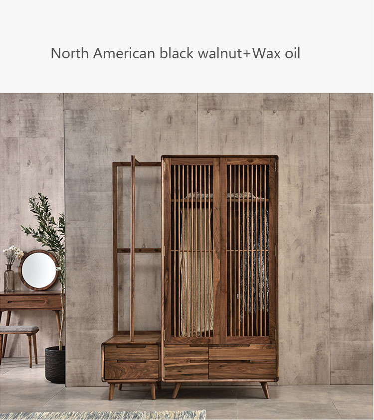 Bedroom wall solid wood wardrobe cabinet closet simple design Wooden