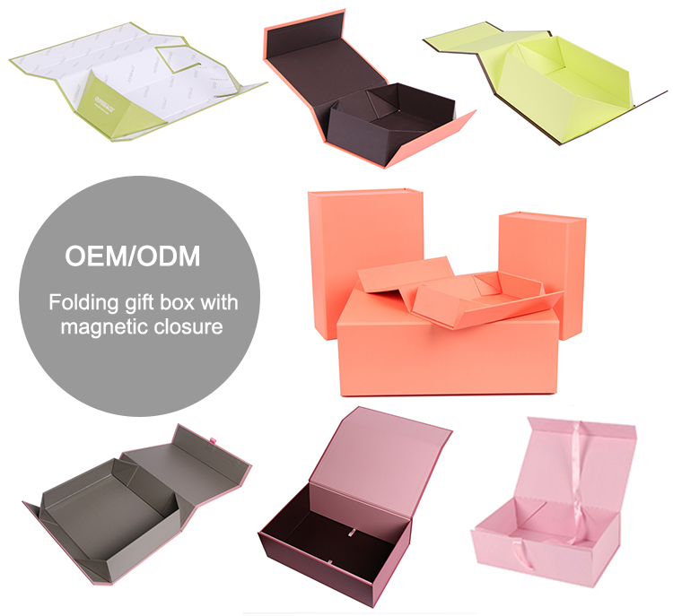 Custom fancy cardboard paper collapsible magnetic folding gift box with magnet closure