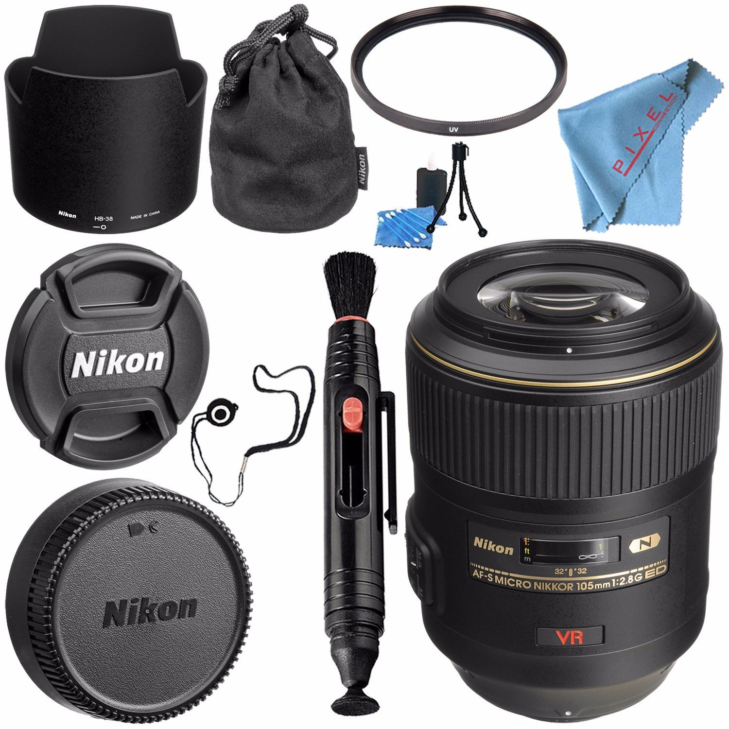 Nikon AF-S VR Micro-NIKKOR 105mm f/2.8G IF-ED Lens 2160 + 62mm UV Filter + Lens Pen Cleaner + Fibercloth + Lens Capkeeper + Lens Cleaning Kit Bundle