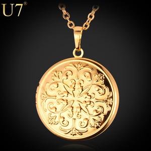 U7 Locket Pendant Gold Plated Charms Jewelry Vintage Flower Floating Photo Locket Necklace