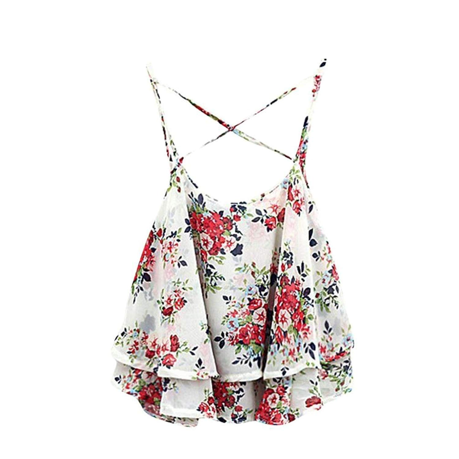 Paymenow Hot Sale 2018 Women Girls Sexy Spaghetti Strap Vest Tank Tops Floral Print Sleeveless Layered Shirts Blouse