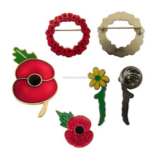 New Custom design Poppy Badge Brooch Flower Collar Pin
