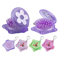 Hot sell plastic multi-functional key chain top round flower makeup mirror bottone star shape magic health care fold hair comb