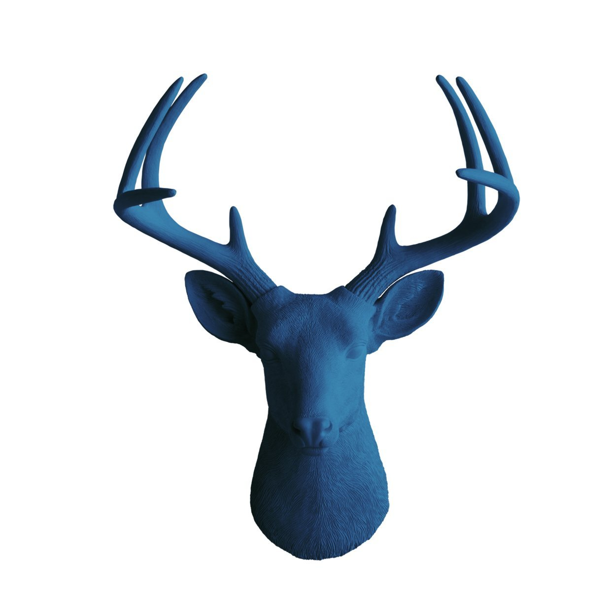 Deer Head by Wall Charmers | Navy Blue Faux Head Mount Bust # Fake Animal Resin Taxidermy Stag Antler Fauxidermy Decorative Mounted Buck Art