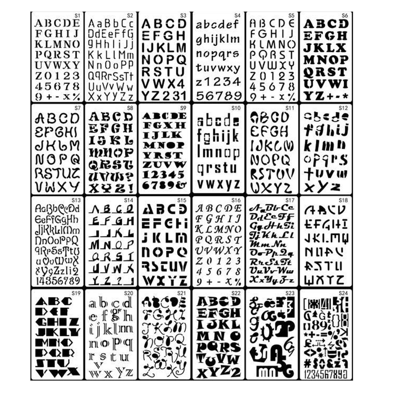 get quotations 24 pieces letter and number stencils alphabetic templatesdrawing mold scale templates diy painting templates