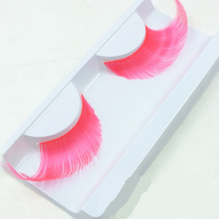 078cf794704 Get Quotations · 1pair Pink false eyelashes Colorful winged eye lashes  Handmade club party thick long fake eyelashes cosplay