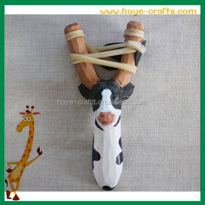 Toys For Kids Natural Wood Slingshot Hand Carved Snimal Head ...