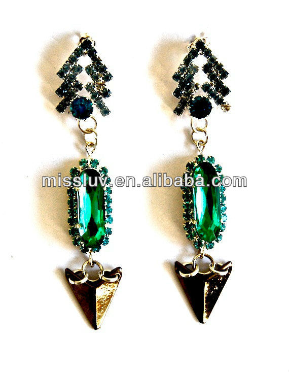 Drop metal earring made with crystals, pike and stone in shiny vivid green