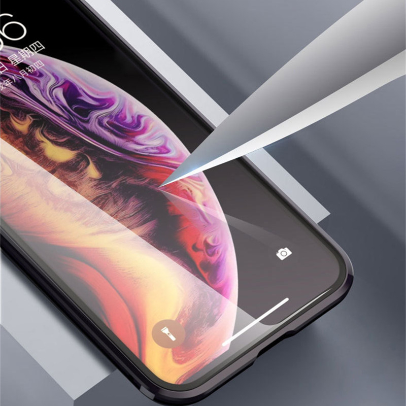 Full body cover 360 protective clear tempered glass magnetic phone case for iphone 6 7 8plus x xs max xr Double sides glass case