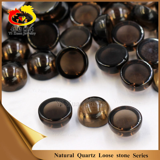Good quality natural round cabochon smoky quartz gem stones crystal