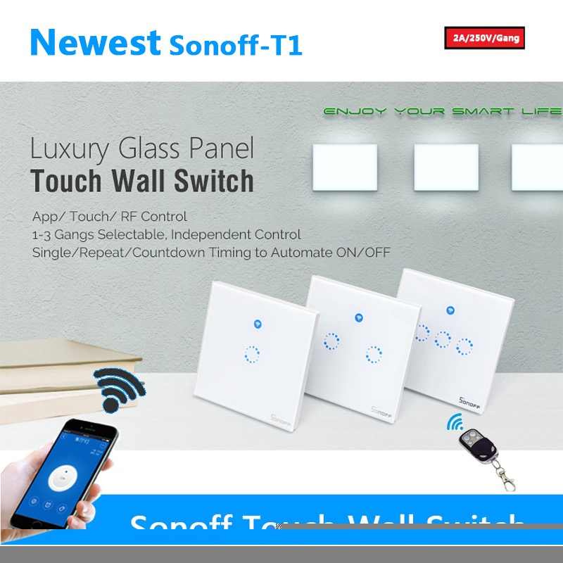Sonoff T1 Us/uk/eu Wifi Light 123 Gang Touch/wifi/315 Rf/app Remote Smart  Home Wall Touch Tempered Glass Switch Panel Led Light - Buy Sonoff T1