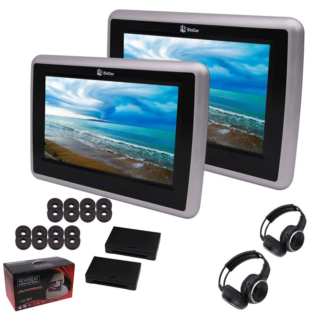 Free 2xHeadphone included Eincar Car Headrest 10.1inch 1024x600 Definition Touch Screen Car Pillow Monitor with region Free Dual Car DVD Player USB SD IR FM Transmitter and Wireless