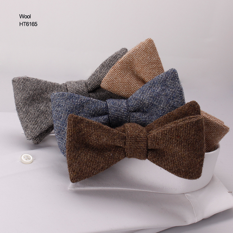 High Quality Pure Color Mens Classic Wool Self Bowties