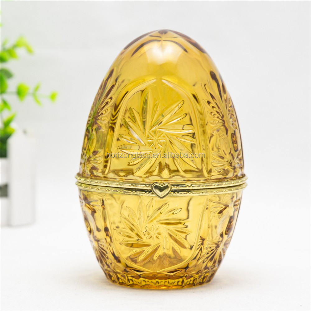 fancy gift of yellow colored mini size glass food container egg cup with cap