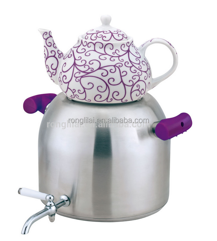 Stainless steel double tea pot kettle set / turkish tea kettle /coffee kettle