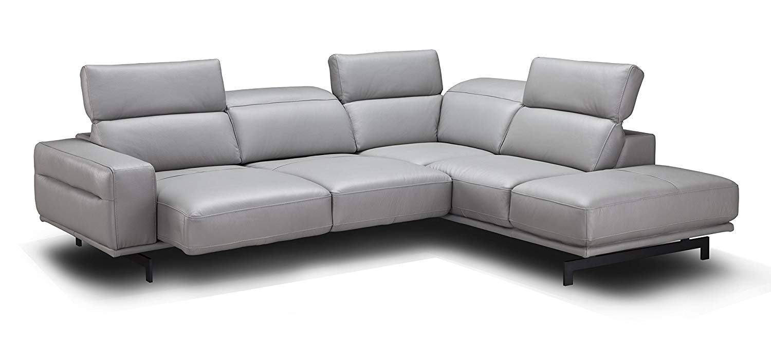 J and M Furniture 17981-RHFC Davenport Light Grey Rhf Chaise Premium Leather Sectional Sleeper