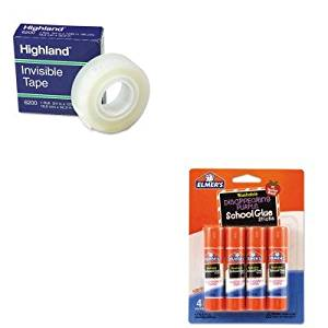 KITEPIE543MMM6200341296 - Value Kit - Elmer's Washable School Glue Sticks (EPIE543) and Highland Invisible Permanent Mending Tape (MMM6200341296)